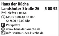 Haus Der Kuche 94315 Straubing Offnungszeiten Adresse Telefon