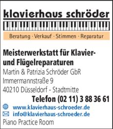 Anzeige Klaviere Düsseldorf Schröder