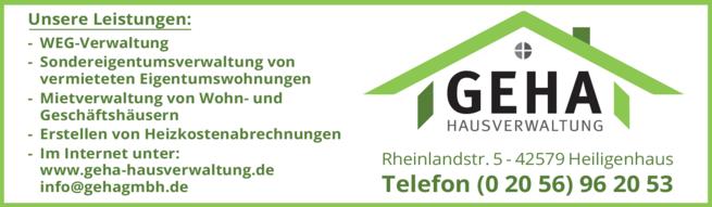 Anzeige GEHA S. Schild-Fengels Hausverwaltung GmbH