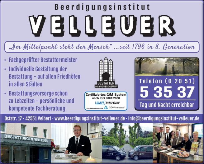 Anzeige Bestatter Velleuer