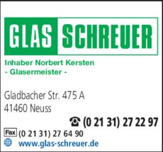 Anzeige Glas Schreuer