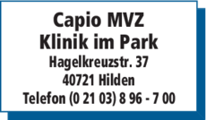 Anzeige Capio MVZ Klinik im Park