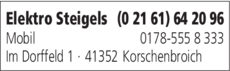 Anzeige Elektro Steigels