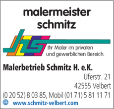 Anzeige Schmitz Harald Malerbetrieb e.K.