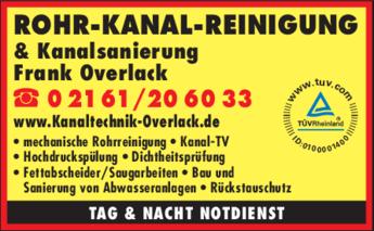 Anzeige Rohr-Kanal-Reinigung & Kanalsanierung Overlack
