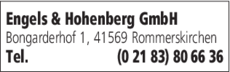 Anzeige Dachdeckerei Engels & Hohenberg GmbH
