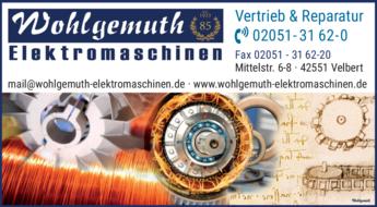 Anzeige Elektromaschinen Wohlgemuth