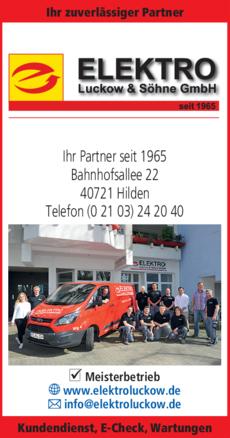 Anzeige Elektro Luckow & Söhne GmbH