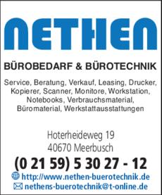 Anzeige Bürotechnik Nethen Bürobedarf & Bürotechnik