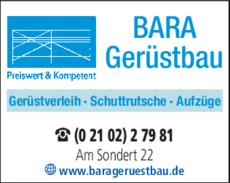 Turbo Bara-Gerüstbau GmbH & Co.KG in Ratingen ⇒ in Das Örtliche RW95