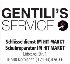 Anzeige Schlüsseldienst Gentili's Service