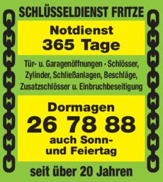 Anzeige Schlüsseldienst Fritze