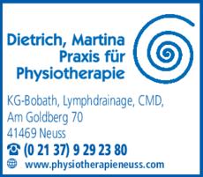 Anzeige Dietrich Physiotherapie