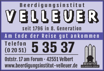 Anzeige Beerdigungsinstitut Velleuer