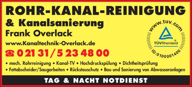 Anzeige Rohrreinigung Frank Overlack
