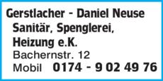 Anzeige Gerstlacher - Daniel Neuse Sanitär, Spenglerei, Heizung e.K.