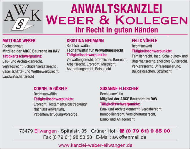 Anzeige Anwaltskanzlei Weber & Kollegen