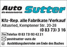 Anzeige Auto Sutter