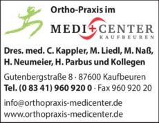 Anzeige Ortho-Praxis im Medi-Center Dres.med. , C. Kappler, M. Naß, H. Neumeier, H. Parbus