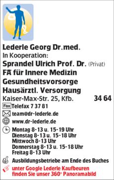 Anzeige Lederle Georg Dr., Helbig Julia Dr., In Kooperation Sprandel Ulrich Prof. Dr.