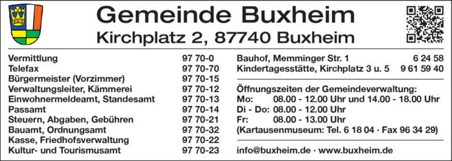 Anzeige Gemeinde Buxheim