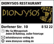 Anzeige DIONYSOS Restaurant