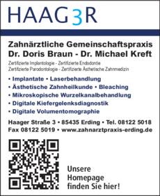 Anzeige Braun Doris Dr. , Dr. Michael Kreft
