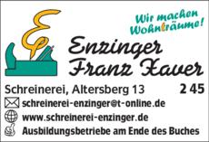 Anzeige Enzinger Franz Xaver Schreinerei