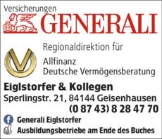 Anzeige Versicherungen Eiglstorfer - Generali