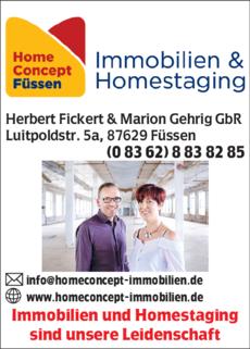 Anzeige REMAX HomeConcept in Füssen Immobilien und Homestaging , Herbert Fickert & Marion Gehrig GbR