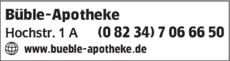 Anzeige Büble-Apotheke