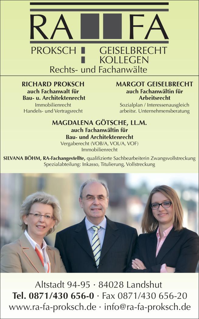 Anzeige Proksch & Geiselbrecht , Proksch Richard, Geiselbrecht Margot, Götsche Magdalena