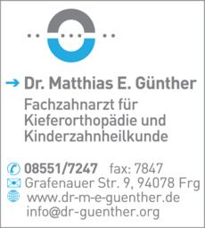 Anzeige Günther Matthias E. Dr.