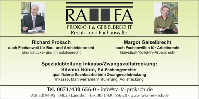 Anzeige Proksch & Geiselbrecht Rechtsanwälte , Proksch Richard, Geiselbrecht Margot, Götsche Magdalena