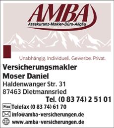 Anzeige AMBA Assekuranz-Makler-Büro-Allgäu
