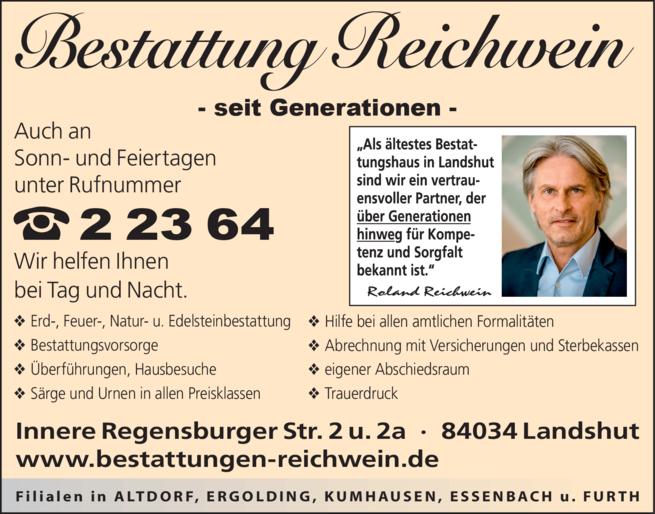 Anzeige Bestattung Reichwein