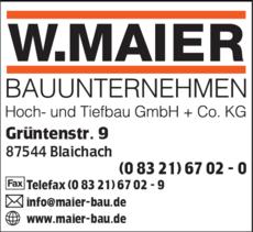 Anzeige Bauunternehmen W. Maier
