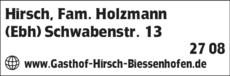Anzeige Hirsch, Fam. Holzmann