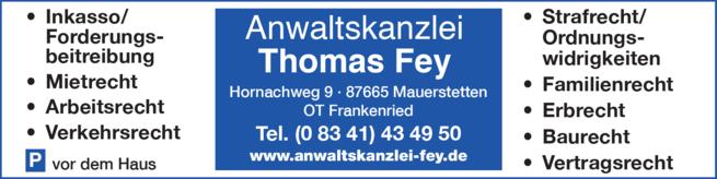 Anzeige Anwaltskanzlei Fey Thomas