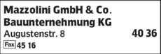 Anzeige Mazzolini GmbH & Co. Bauunternehmung KG