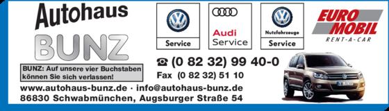 Anzeige Autohaus Bunz