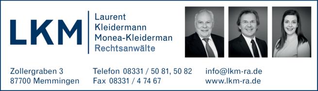 Anzeige Laurent, Kleidermann, Monea Kleiderman, Rechtsanwälte