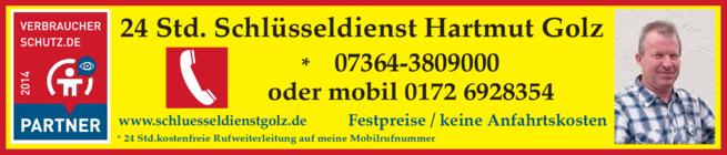 Anzeige Golz Hartmut
