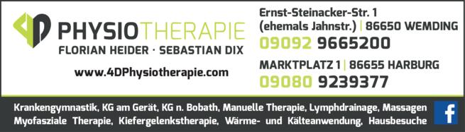 Anzeige 4D Physiotherapie