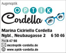 Anzeige Augenoptik Cordella