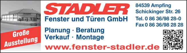 Anzeige Stadler, Fenster und Türen GmbH