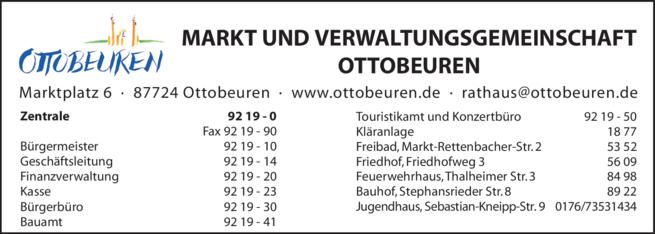 Anzeige Markt- und Verwaltungsgemeinschaft