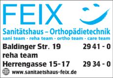Anzeige FEIX, Sanitätshaus
