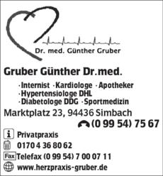 Anzeige Gruber Günther Dr.med.