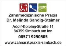 Anzeige Sandig-Staimer Melinda Dr.med.dent.